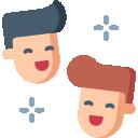 deux personnes sourient pictogramme