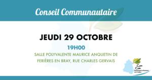 Conseil communautaire du jeudi 29 octobre 2020