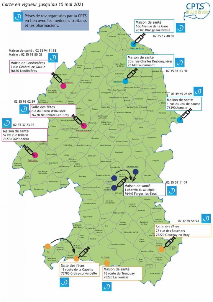 carte vaccination covid-19 pays de bray gournay en bray