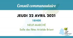 Conseil communautaire du Jeudi 22 Avril 2021