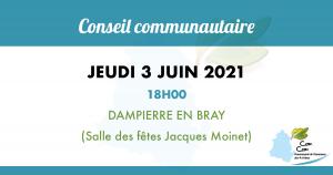 Conseil Communautaire – Jeudi 3 juin 2021